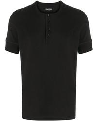 schwarzes T-shirt mit einer Knopfleiste von Tom Ford