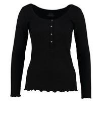schwarzes T-shirt mit einer Knopfleiste von Esprit