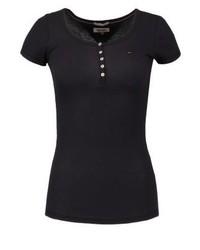 schwarzes T-shirt mit einer Knopfleiste von Tommy Hilfiger