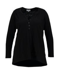schwarzes T-shirt mit einer Knopfleiste von Zizzi