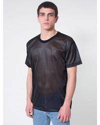 Schwarzes T-Shirt mit Rundhalsausschnitt aus Netzstoff