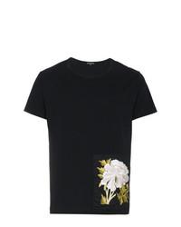 schwarzes T-Shirt mit einem Rundhalsausschnitt mit Blumenmuster von Ann Demeulemeester