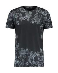 schwarzes T-Shirt mit einem Rundhalsausschnitt mit Blumenmuster von Burton Menswear London
