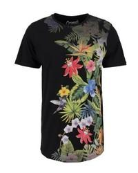 schwarzes T-Shirt mit einem Rundhalsausschnitt mit Blumenmuster von Jack & Jones