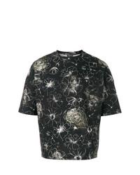 schwarzes T-Shirt mit einem Rundhalsausschnitt mit Blumenmuster von Jil Sander