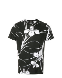 schwarzes T-Shirt mit einem Rundhalsausschnitt mit Blumenmuster von N°21