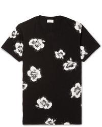 schwarzes T-Shirt mit einem Rundhalsausschnitt mit Blumenmuster von Saint Laurent