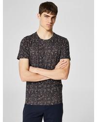 schwarzes T-Shirt mit einem Rundhalsausschnitt mit Blumenmuster von Selected Homme