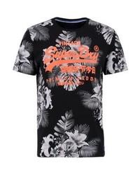 schwarzes T-Shirt mit einem Rundhalsausschnitt mit Blumenmuster von Superdry