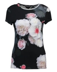 schwarzes T-Shirt mit einem Rundhalsausschnitt mit Blumenmuster von Ted Baker