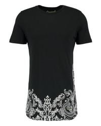 schwarzes T-Shirt mit einem Rundhalsausschnitt mit Paisley-Muster von Jack & Jones