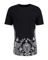 schwarzes T-Shirt mit einem Rundhalsausschnitt mit Paisley-Muster von YOURTURN