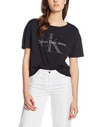 schwarzes T-Shirt mit einem Rundhalsausschnitt von Calvin Klein Jeans