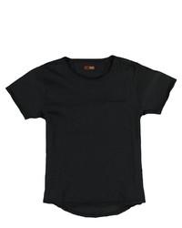 schwarzes T-Shirt mit einem Rundhalsausschnitt von EMILIO ADANI