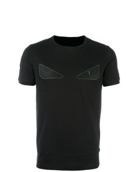 schwarzes T-Shirt mit einem Rundhalsausschnitt von Fendi