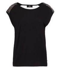 schwarzes T-Shirt mit einem Rundhalsausschnitt von Le Temps Des Cerises