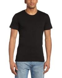 schwarzes T-Shirt mit einem Rundhalsausschnitt von Minimum