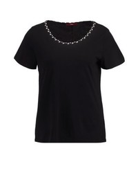 Schwarzes T-Shirt mit Rundhalsausschnitt von s.Oliver