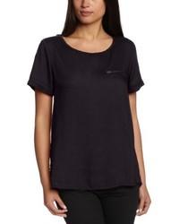 Schwarzes T-Shirt mit Rundhalsausschnitt von Saint Tropez