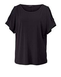 schwarzes T-Shirt mit einem Rundhalsausschnitt von Sara Lindholm by Happy Size