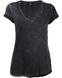 schwarzes T-Shirt mit einem V-Ausschnitt von Paige