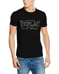 schwarzes T-shirt von Replay