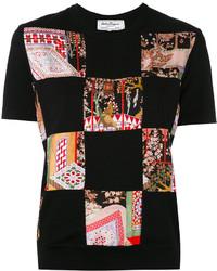 schwarzes T-shirt von Salvatore Ferragamo