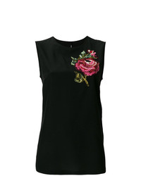 schwarzes Trägershirt mit Blumenmuster von Dolce & Gabbana