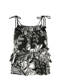 schwarzes Trägershirt mit Blumenmuster von See by Chloe