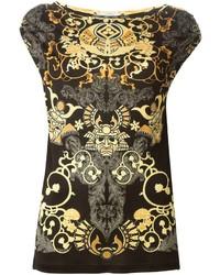 schwarzes und goldenes bedrucktes ärmelloses Oberteil von Versace