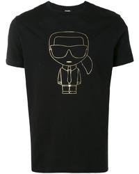 schwarzes und goldenes bedrucktes T-Shirt mit einem Rundhalsausschnitt von Karl Lagerfeld