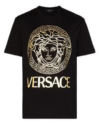 schwarzes und goldenes bedrucktes T-Shirt mit einem Rundhalsausschnitt von Versace