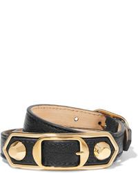schwarzes und goldenes Lederarmband von Balenciaga
