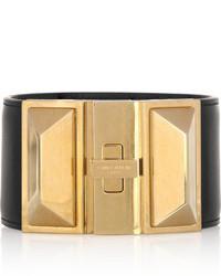 schwarzes und goldenes Lederarmband von Saint Laurent