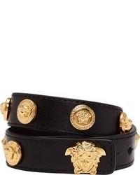 schwarzes und goldenes Lederarmband von Versace