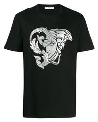 schwarzes und silbernes bedrucktes T-Shirt mit einem Rundhalsausschnitt von Versace Collection