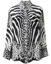 schwarzes und weißes bedrucktes Businesshemd von Balmain