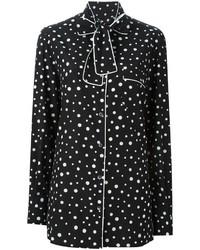 schwarzes und weißes bedrucktes Businesshemd von Dolce & Gabbana
