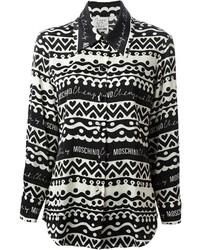 schwarzes und weißes bedrucktes Businesshemd von Moschino