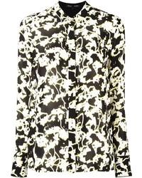 schwarzes und weißes bedrucktes Businesshemd von Proenza Schouler