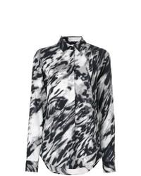 schwarzes und weißes bedrucktes Businesshemd von Saint Laurent