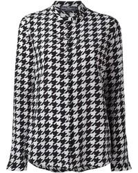 schwarzes und weißes bedrucktes Businesshemd von Salvatore Ferragamo