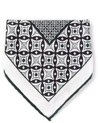 schwarzes und weißes bedrucktes Einstecktuch von Canali