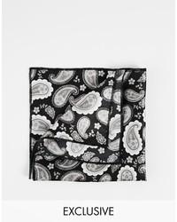 schwarzes und weißes bedrucktes Einstecktuch von Reclaimed Vintage