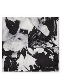schwarzes und weißes bedrucktes Einstecktuch von Tom Ford