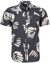 schwarzes und weißes bedrucktes Kurzarmhemd