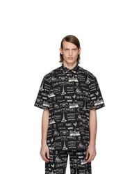 schwarzes und weißes bedrucktes Kurzarmhemd von Balenciaga
