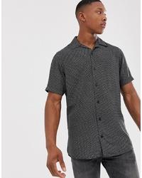 schwarzes und weißes bedrucktes Kurzarmhemd von Jack & Jones