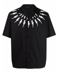 schwarzes und weißes bedrucktes Kurzarmhemd von Neil Barrett