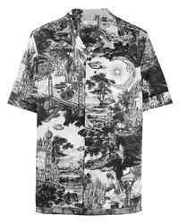 schwarzes und weißes bedrucktes Kurzarmhemd von Valentino